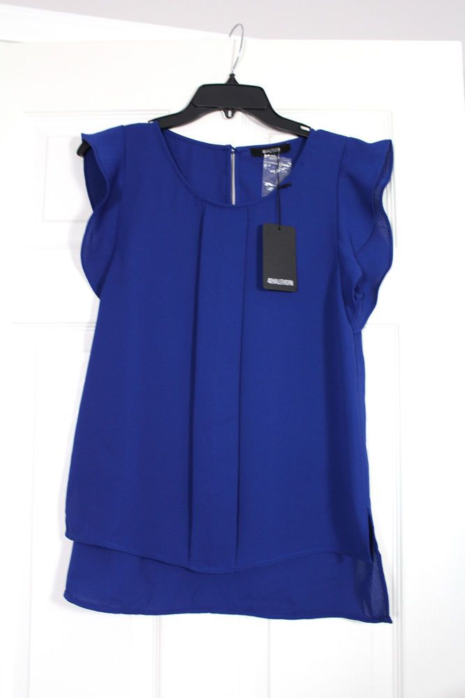 NWT 41Hawthorn Stitch Fix Blue Maya Flutter Sleeve Blouse Career Medium #41HawthornforStitchFix #Blouse
