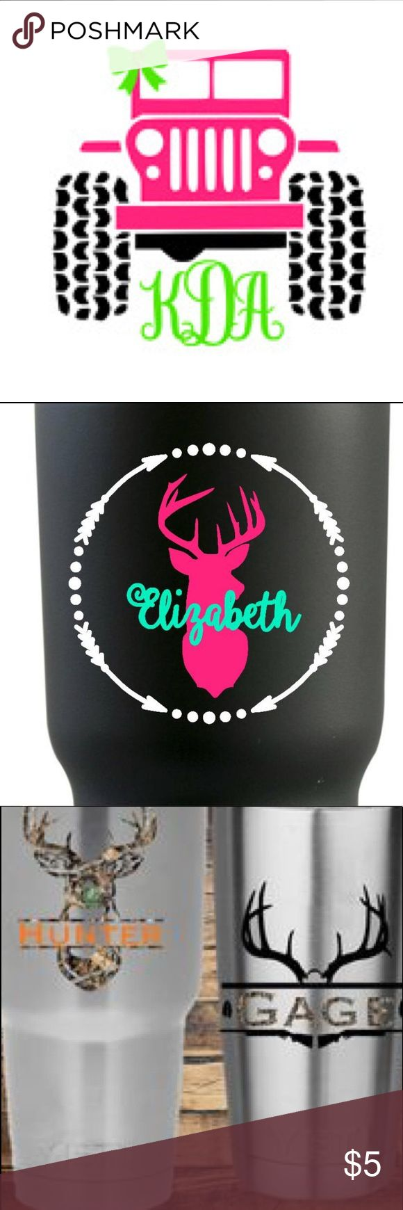 """Custom Vinyl sticks Made to order but usually shit the next day. Cost varies on size number of colors, reg vinyl and glitter. I will make a private listing for your sticker. 3"""" sticker is $5 4"""" sticker is $6 5 sticker is $7 6"""" sticker is $8 And so on! These stickers can be used for may different things cups, car deals, and much more! Before deciding what to order check out to other stickers to see different designs. If you would like a custom design let me know.  2-3 colors add $1  4…"""
