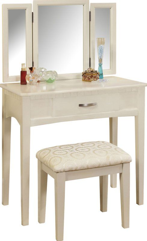 Groovy Luisa Vanity With Mirror And Stool Set In 2019 Mirrored Gmtry Best Dining Table And Chair Ideas Images Gmtryco