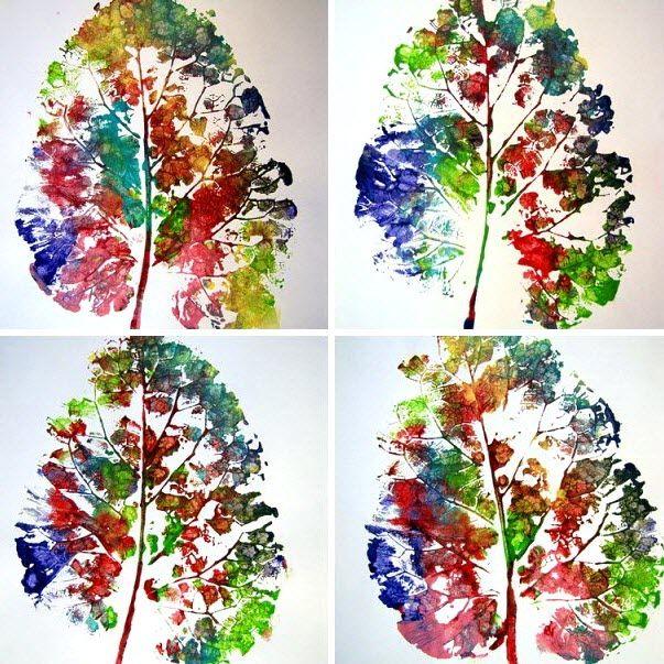 empreintes de feuilles avec de la peinture