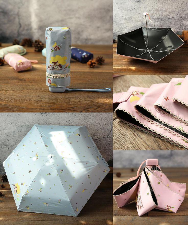 [Visit to Buy] TECHOME Mini Pocket Umbrella Cartoon Cute Umbrella Compact 5 Folding Travel Parasol Super Light Waterproof/UV Protective #Advertisement