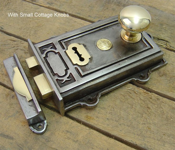 Davenport Cast Iron Rim Lock Set - Lovely example of a single level, dual-handed solid cast iron rim lock. Each lock is hand finished and is supplied with two solid brass keys, lock keep and escutcheon to match which ever door knob you choose. Available with or without knobs.