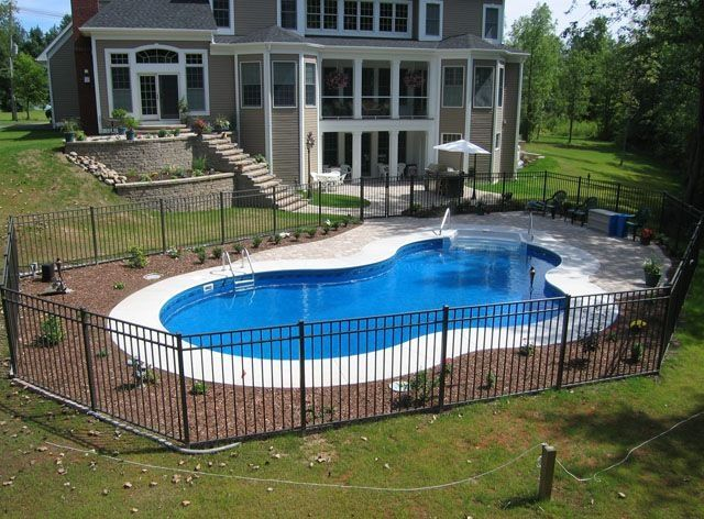 Inground pools pool shapes pool styles northeastern for In ground pool fence ideas