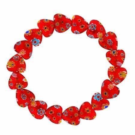 Murano Glass Red Heart Millefiori Flower Stretch Bracelet SilverSpeck.com. $9.99