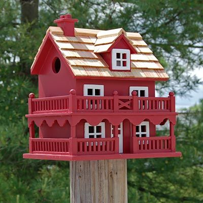 Home Bazaar Novelty Cottage Bird House, Red at BestNest.com