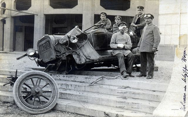 Injured driver & badly damaged vehicle from Kraftwagen Depot München, June 1915   Flickr - Photo Sharing!
