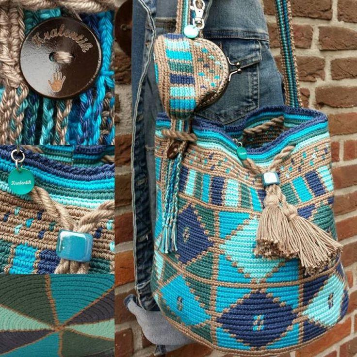 Mochila Blue/green inclusief portemonneetje