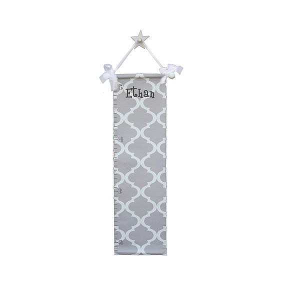 growth chart for kids- hand painted trellis growth chart - gray moroccan growth chart - personalized modern growth chart