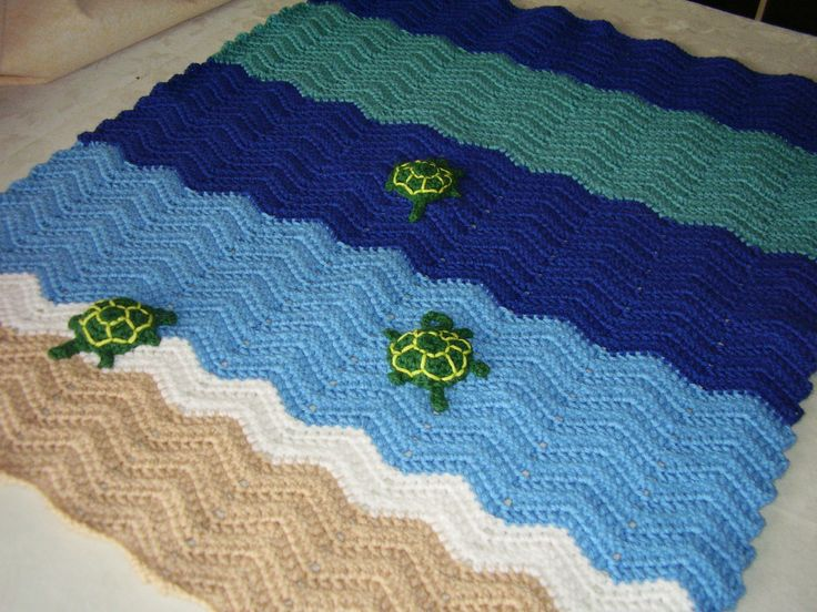 Crochet Ocean Waves Turtle blanket in sand, blues, and green Blue and, Sand...