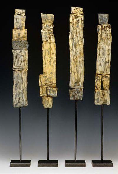 "Susan Madacsi | ""Wabi Sabi Totems"" | forged steel + enamel paint"