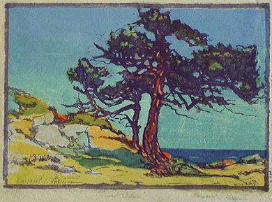 "Margaret Jordan Patterson (1867-1950) - Coast Cedars. Woodblock Print. Circa 1920. 8"" x 10-1/2"""