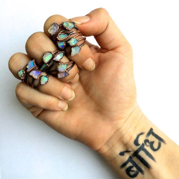 Raw opal ring | Australian opal ring | Rough opal ring | Australian fire opal jewelry | Fire opal ring | Rough Australian opal ring by HAWKHOUSE on Etsy https://www.etsy.com/listing/228698628/raw-opal-ring-australian-opal-ring-rough
