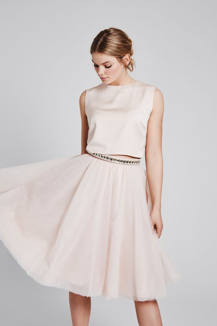 Faded blush tulle skirt - midi skirt - piq dress: OLIVIA - SOPHIE in faded blush with a crystal belt in nude - more colours available