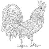 Вектор: Zentangle stylized cartoon rooster (cock), isolated on white background. Hand drawn sketch for adult antistress coloring page, T-shirt emblem, logo or tattoo with doodle, zentangle design elements.