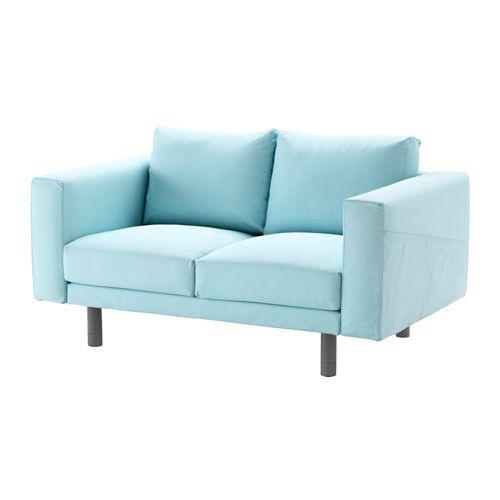 IKEA - NORSBORG, Sofá 2 plazas, Edum azul claro, gris, , La funda es fácil de limpiar, ya que se puede quitar y lavar a máquina.10 años de garantía. Consulta las condiciones en el folleto de garantía.