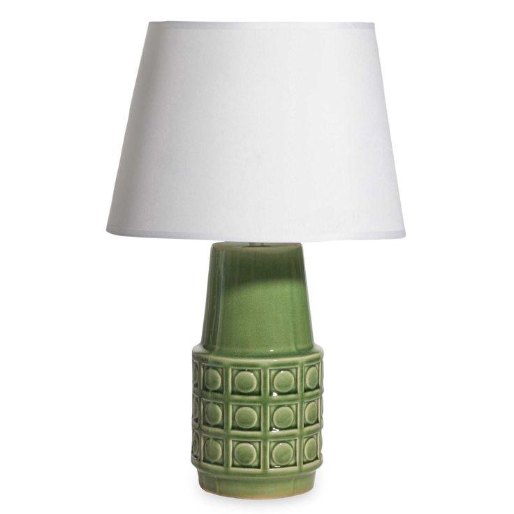 Lampada verde in ceramica con abat-jour bianco CHELVA