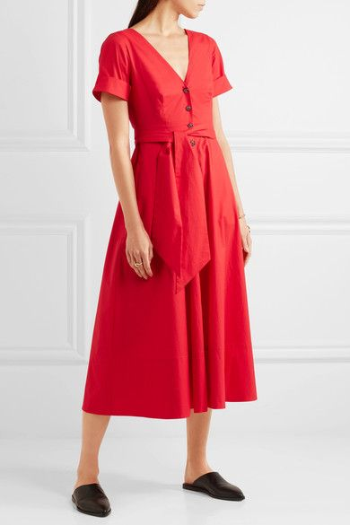 Saloni - Zoey Cutout Stretch-cotton Poplin Midi Dress - Red - UK10