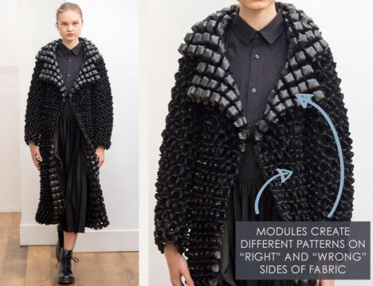 Smocking, Macramé and Modular Patterns at Noir Kei Ninomiya | The Cutting Class. noir kei ninomiya, AW15, Paris, Image 2. Modules create different patterns on right and wrong sides of fabric.