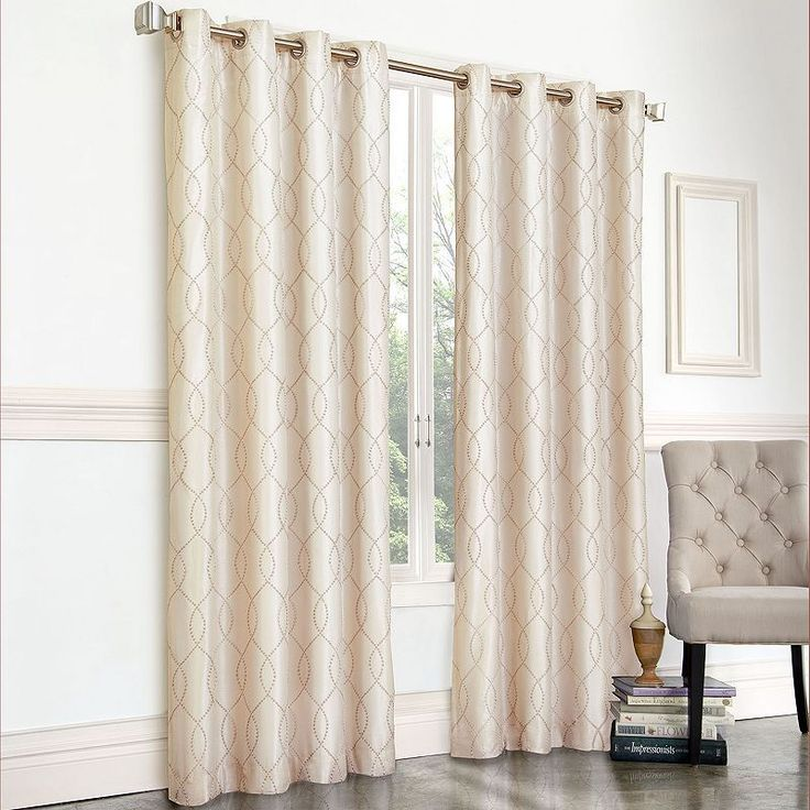 Regent Court Gramercy Embroidered Faux Silk Curtain, Grey