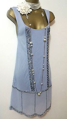 20-prochaines-de-Style-Gatsby-Charleston-deco-perles-tambour-sequin-robe-taille-UK-10