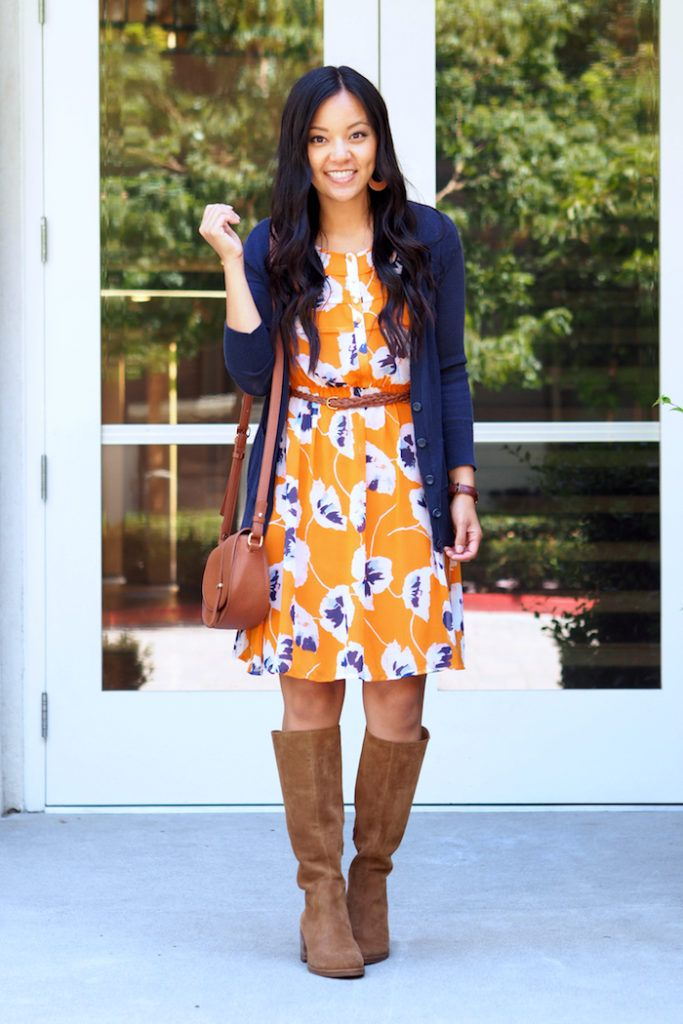 4946b5b30d871 Another outfit I love, that dress is gorgeous and it's so cute with the  cardigan and boots.