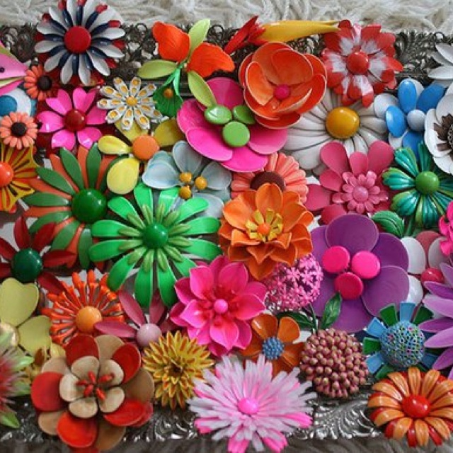 Vintage broches-Flower Power Pins