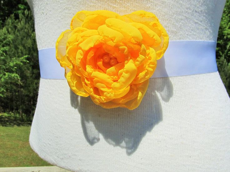 Golden Yellow Chiffon Flower Bridal Sash with Pearl Beaded Center by BROWNIESBOWTIQUE on Etsy