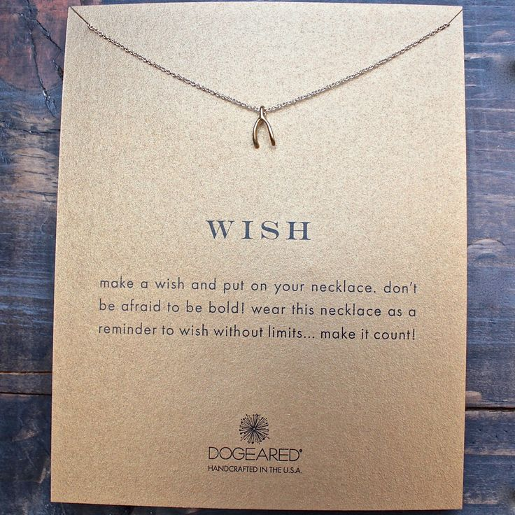 """dogeared 'reminder wish teeny wishbone necklace' 16"""" gold dipped"""