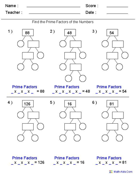Image result for prime factorization worksheets for 5th grade | math ...