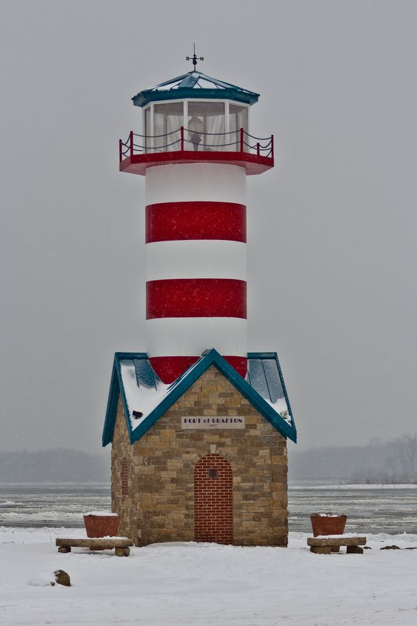 Snowy day at the Grafton, Illinois lighthouse. Along the Mississippi river.