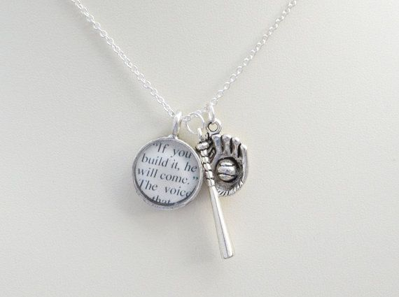 If you build it, he will come  Field of Dreams / Shoeless Joe Charm Necklace: The perfect gift for baseball fans, featuring silver charms of a baseball bat, baseball glove and ball and a handmade resin charm with text from W. P. Kinsella's book, Shoeless Joe.  Created by CiarraiStudios, $26.00