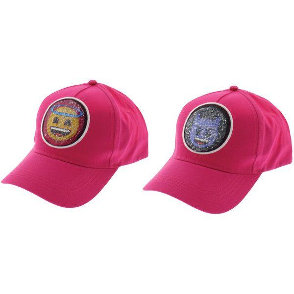 Women's Emoji Ladies Baseball Cap ($11) ❤ liked on Polyvore featuring pink
