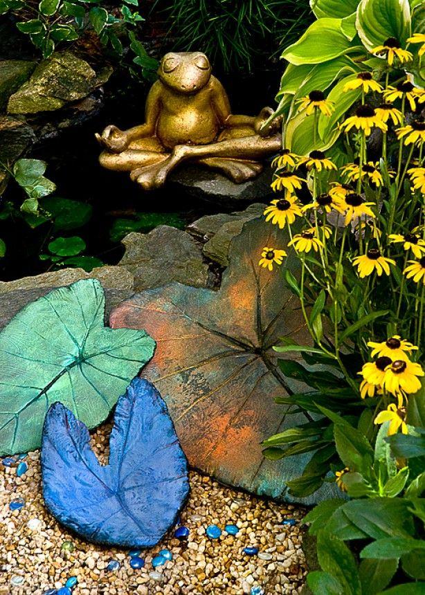 Gartendeko ideen Selbermachen bergenienblatt beton deko idee