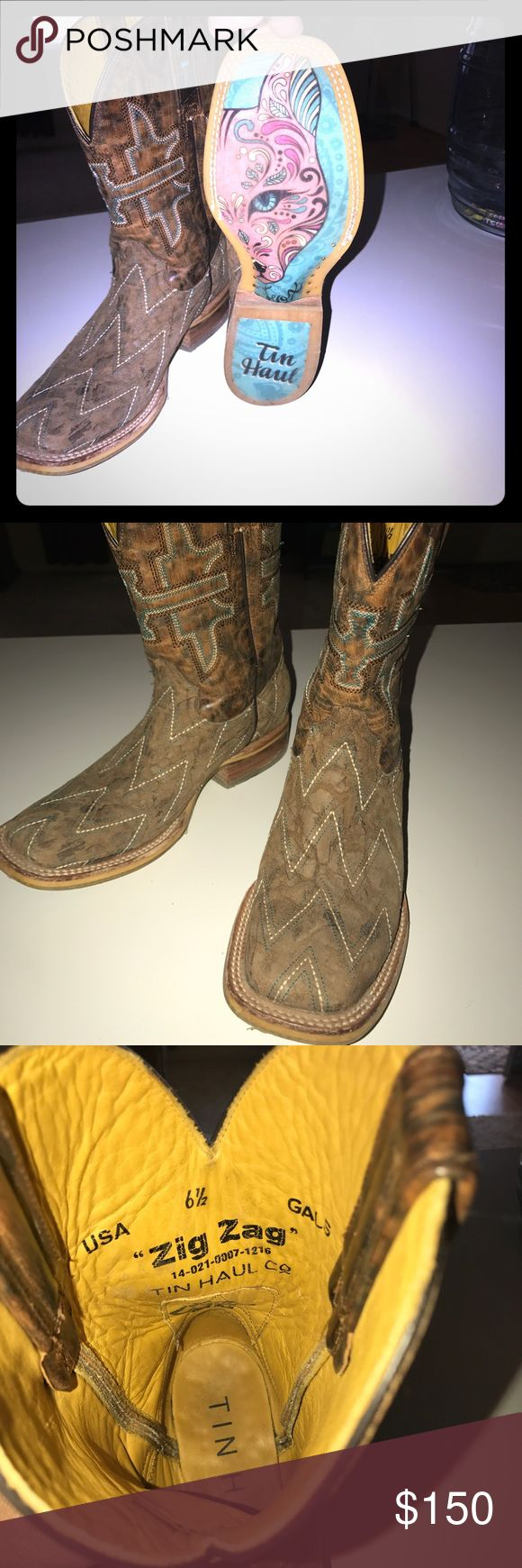 """Boots Tin Haul Co. """"Zig Zag"""" Women's Boots Shoes Heeled Boots"""