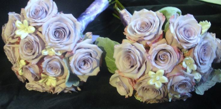 lavender roses, white stephanotis bridesmaids bouquets