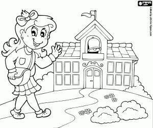 Omalovánka Dívka přichází pěšky do školy