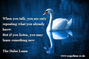When you talk you are only repeating what you already know. But if you listen you may learn something new.  Dalai Lama