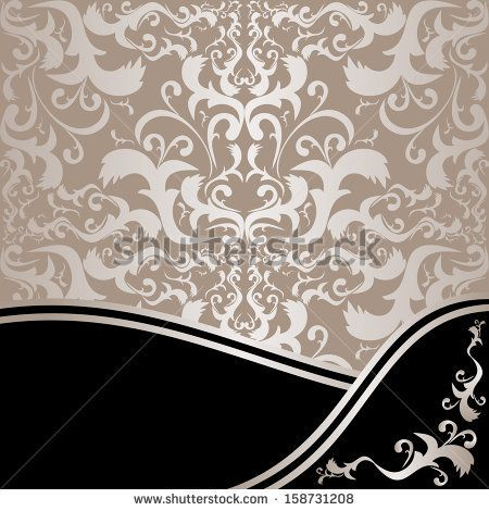 Luxury ornamental Background: silver and black. Raster version. - stock photo