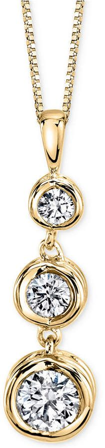 Sirena Energy Diamond Three-Stone Pendant Necklace (1/4 ct. t.w.) in 14k Yellow or White Gold