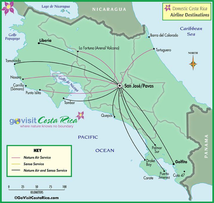 Costa Rica Domestic Airline Map