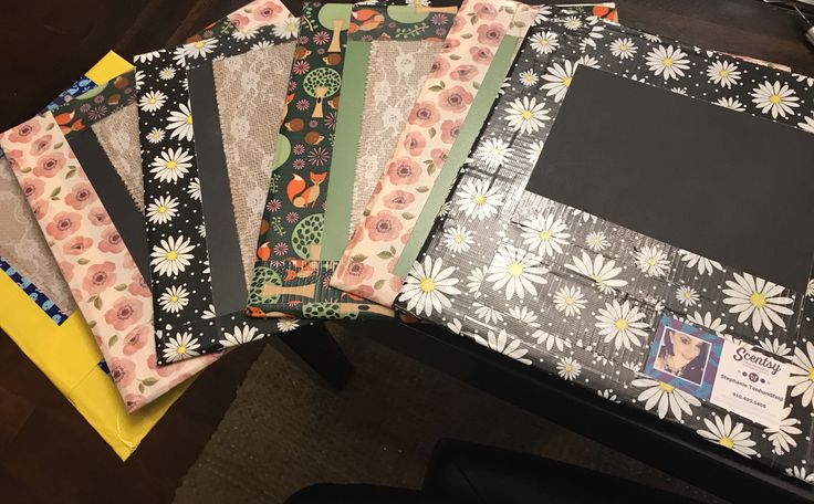 DIY Lap Boards for Scentsy Party made out of cheap binders, duct tape, craft paper and ribbons.   Http://www.scentsbysteviefaye@scentsy.us
