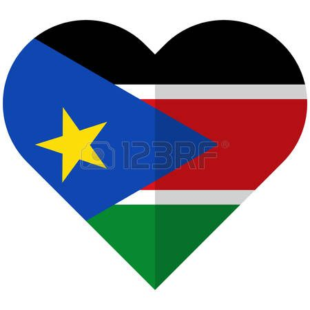 Vector image of the South Sudan flat heart flag Vector