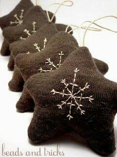 Riciclo vecchi maglioni per farne decori natalizi o più in grande cuscini per la casa..