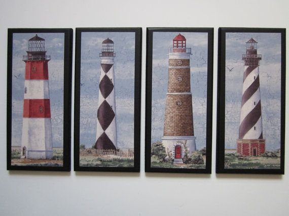 Perfect For My Light Switch Wall In Bathroom Lighthouses Set Nautical Style Wall Decor Plaques Blue Red White Black Beach Theme Bathroom Or Ocean Bath