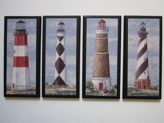 Lighthouses 4pc set nautical style wall decor plaques, blue red white black, beach theme bathroom  or ocean bath