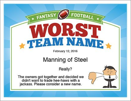 Worst team name for Fantasy Football certificate template. 35 different designs in all. Way cool!