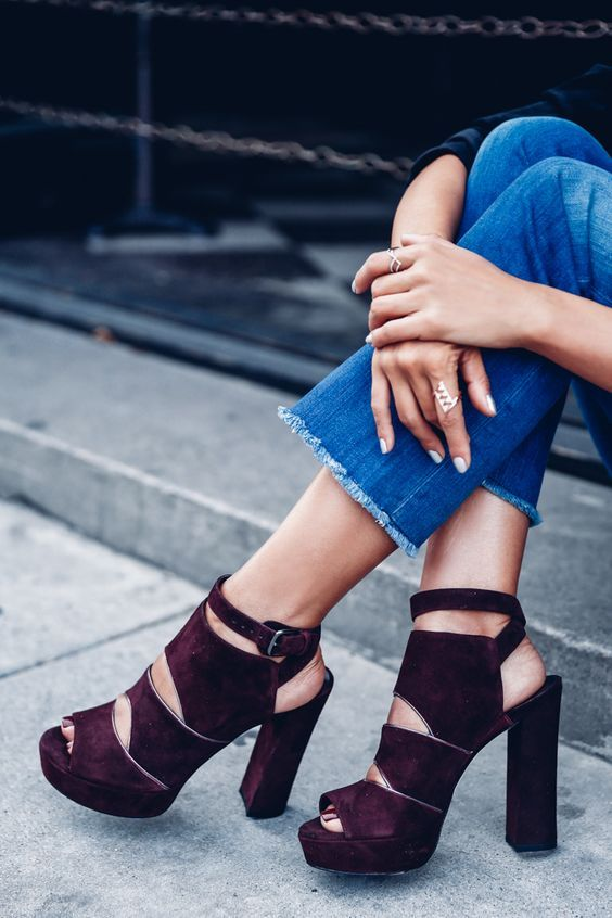 Burgundy platform heels by @vivaluxury