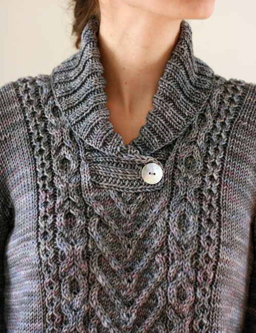 """Inspiration photo: """"I Heart Aran"""" shawl-collared, cabled sweater by Tanis Fiber Arts"""