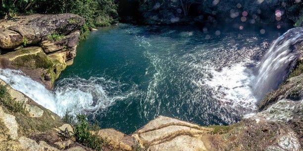 double waterfall near Río Blanco, Toledo District, Punta Gorda, Belize