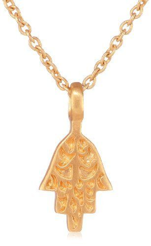 "Satya Jewelry ""Gilded Protection"" 24K Yellow Gold Pendant Necklace Satya Jewelry. $48.00. Made in United States. This mini hamsa on an 18"" chain is crafted with a sophistication and timelessness"